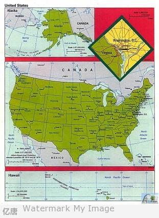 美国英文地图